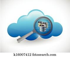 cloud concept magnify data server illustration