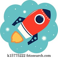 Colorful cartoon Rocket in space isolated on white