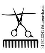 comb and scissors cutting strand