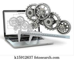 Computer-design engineering. Laptop, gear, trammel and draft.