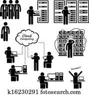 computernetzwerk, server, daten zentrieren