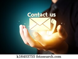 Contact us symbol in business hand