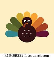 Cute retro Thanksgiving Turkey isolated on beige