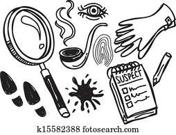 detective stuff doodle