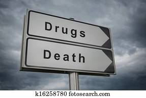 Drugs Death concept road sign.