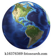 Earth globe, realistic 3 D rendering. Americas North and south view. On white background.