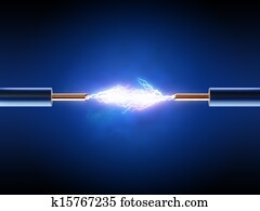 Electrical spark between two insulated copper wires