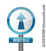 energy bills road sign illustration design