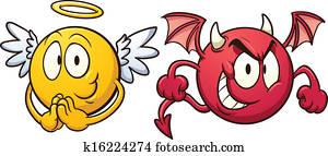 engelchen, und, teufel, emoticons.