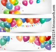 feiertag, banner, mit, buntes, balloons., vector.