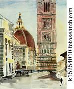 florence duomo watercolor