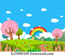 Forest, rainbow and farm background