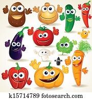 Funny Cartoon Vegetables Clip Art