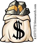 geldtasche, mit, dollarzeichen