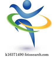 gesund, und, glücklich, logo, vektor