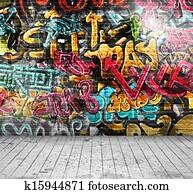 graffiti, auf, wand