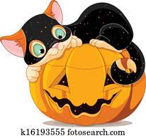 halloween, katzenbaby