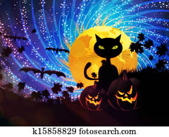 Halloween party background with cat