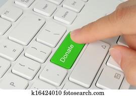 Hand pushing green donate button