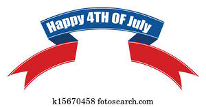 happy 4th of july ribbon banner