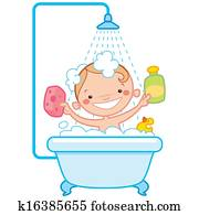 Happy cartoon baby kid in bath tub