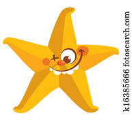 Happy crazy yellow face starfish tooth smiling
