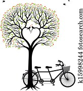 heart tree with birds and bicycle