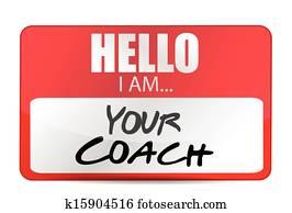 hello I am your coach tag illustration design