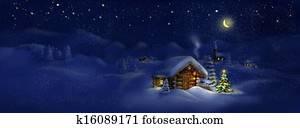 Hut, Christmas tree, light, panorama