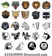Illustrated set of wild animals and