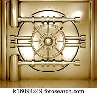 illustration of golden bank vault door, front view