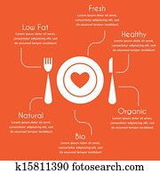 infographics of organic and healthy food