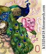 king of peacocks watercolor