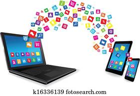 Laptop, Tablet PC and Smart Phone with Apps