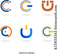 logo, abstrakt, abzeichnen,