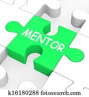 Mentor Puzzle Shows Mentoring Mentorship And Mentors