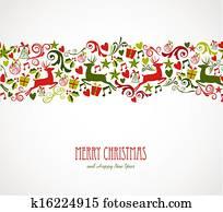 Merry Christmas decorations elements border.