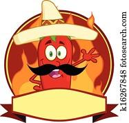 Mexican Chili Pepper Cartoon Logo