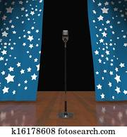 Microphone On Stage Shows Concert Or Talent Show