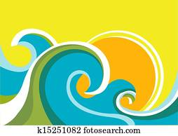 Nature seascape poster with sea waves and sun. Vector color background