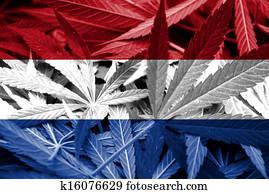 Netherlands Flag on cannabis
