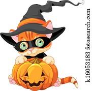 niedlich, halloween, katzenbaby
