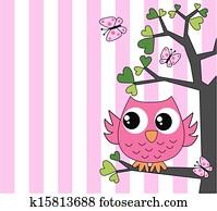 niedlich, klein, rosa, eule