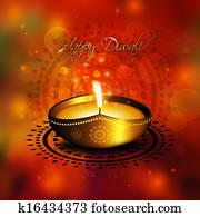 oil lamp with diwali diya greetings