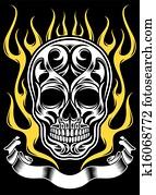 Ornate Flame Skull