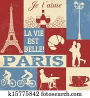 Paris Symbols Poster