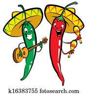 Red and green hot chili character peppers music group