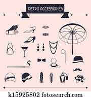 Retro personal accessories, icons and objects of 1920s style.