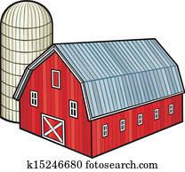 rote scheune, und, siloanlagen, (barn, und, kornkammer