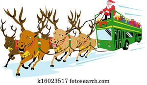 Santa Claus Driving Bus